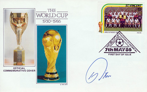 World Cup Football FDC signed by former England captain BRIAN ROBSON.
