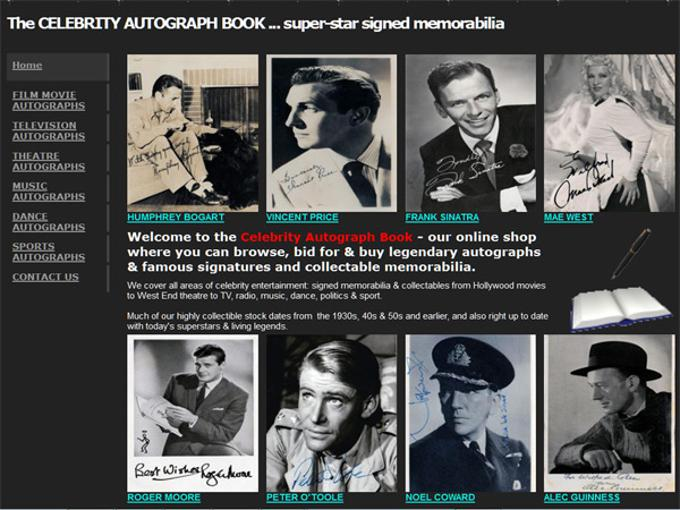 celebrity-autograph-book-com-legendary autographs & famous signatures and collectable memorabilia. We cover all areas of celebrity entertainment: signed memorabilia & collectables from Hollywood movies to West End theatre to TV, radio, music, dance, politics & sport