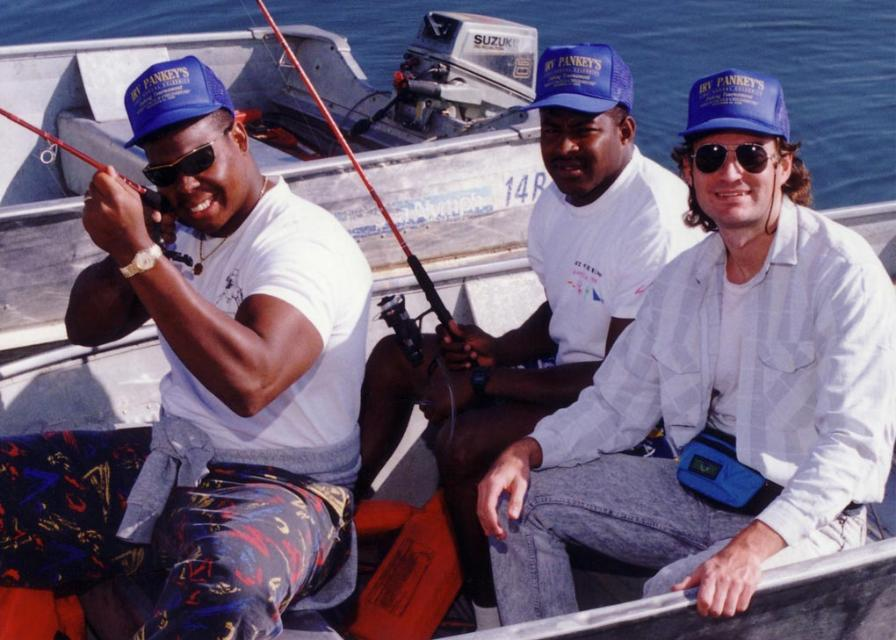 Colin M Jarman fishing with Robert Cox and Buford McGee LA Rams