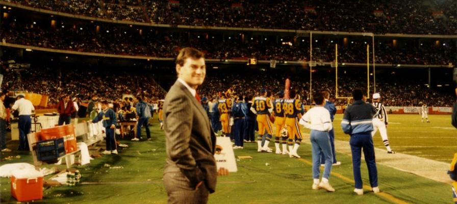 Colin on the sidelines of the 1986 Rams v Cowboys Monday Night Game