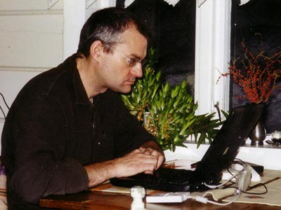 Colin Jarman typing in Norway 1992