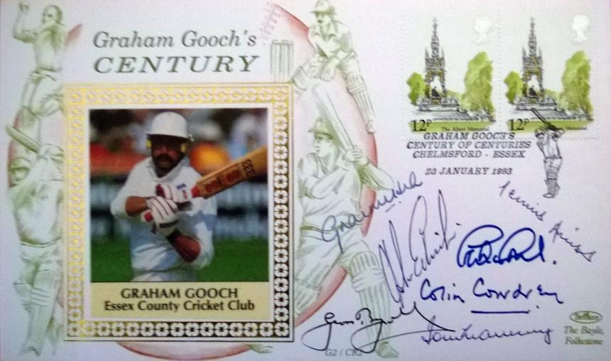 First Day Covewr to celebrate Graham Gooch's 100th 100 also signed by six other England test batsmen.