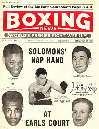 Sir Henry Cooper signed Boxing News 1957