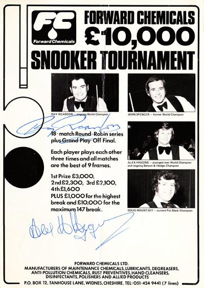 Snooker exhibition programme bill signed by world champions  ALEX HIGGINS & RAY REARDON.