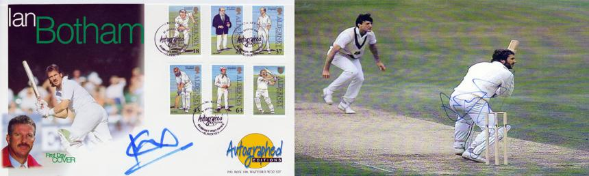 SIR IAN BOTHAM signed First Day Cover and 1981 Ashes picture.
