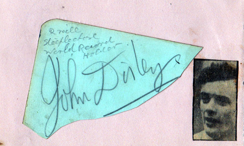 JOHN DISLEY (1952 Olympic bronze medal steeplechase) signed card.
