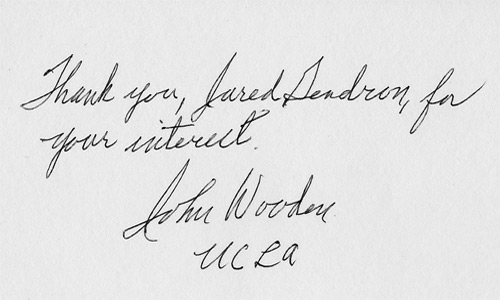 JOHN WOODEN (legendary UCLA basketball coach) signed card.
