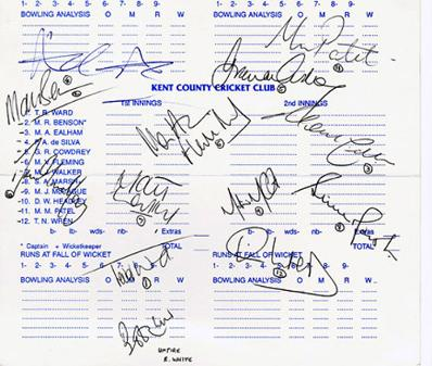 Cricket scorecard signed by the 1995 Kent CCC squad