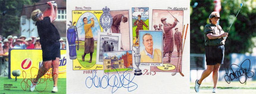 1987 US Open & '94 & '96 LPGA Champion LAURA DAVIES signed photos and golf card.
