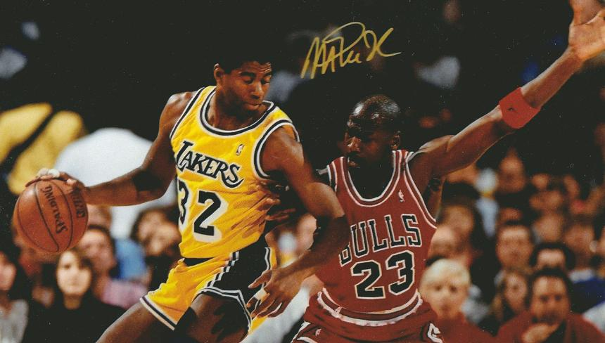 Earvin 'MAGIC' Johnson signed photo with Michael Jordan
