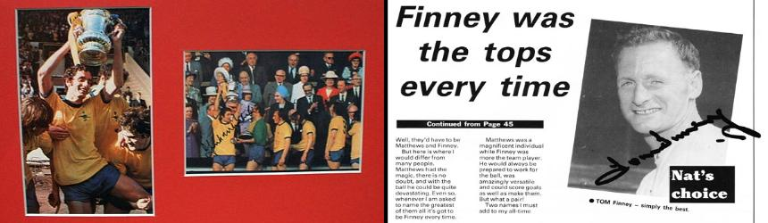 1. FRANK McLINTOCK signed photos from 1971 FA Cup Final                  2. SIR TOM FINNEY signed book page