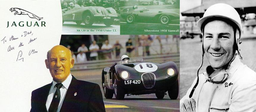 SIR STIRLING MOSS signed Jaguar Le Mans promo card + signed B&W photo from the 1950s.