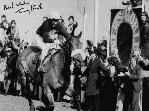Tommy Stack signed photo of Red Rum winning the 1977 Grand National.