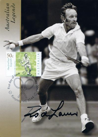 50c Tennis Stamp 2003 First Day Cover signed by Australian legend ROD LAVER