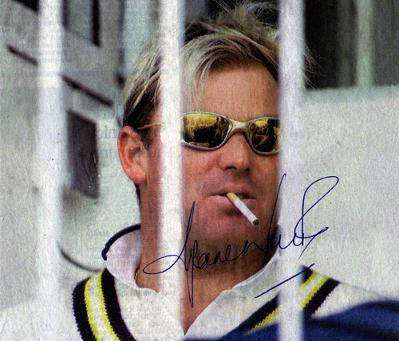 Yorkshire Post newspaper photo signed by Australian leg-spinner SHANE WARNE
