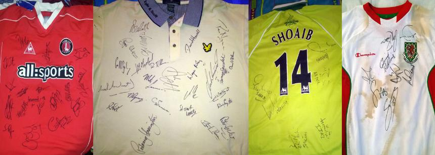 Signed sports shirts: Charlton Athletic, Golf, Pakistan cricket, Wales national football.