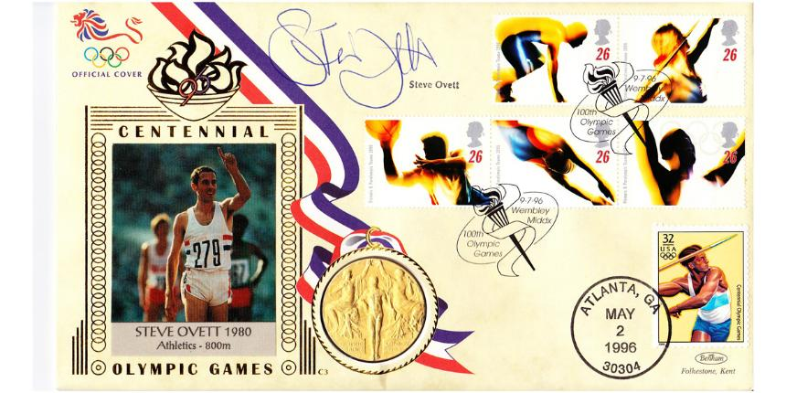 1996 Olympic Games First Day Cover signed by Steve Ovett